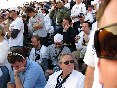 Half-time was depressing to be around the Penn State fans.  Head in the hands, sitting there stunned.  No more smack talk about USC.