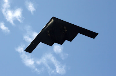 One of the highlights of both the Rose Parade and the Rose Bowl -- a B-2 Spirit Stealth bomber flying directly over us.  Absolutely one of the most impressive sights I have seen.  The wing span on this marvel is amazing.  In fact, when it flew over the Rose Bowl stadium it felt like it briefly covered the whole thing!
