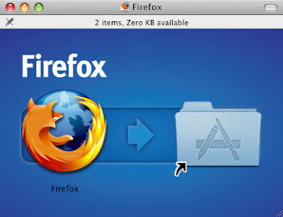 As the image (archive) is mounted on the PC -- you may need to double-click on it sometimes -- a Firefox window pops open with two icons, the Firefox application icon and the Application folder with an arrow between the two. If you double-click the Firefox icon, it will launch the Firefox 3 application out of the mounted archive. If you click on the Applicaiton folder, that will open. If you want to install Mozilla Firefox 3 drag the Mozilla Icon onto the Application folder and it will install (this is what I missed). Then Mozilla Firefox 3 will be installed on your hard drive and launch.