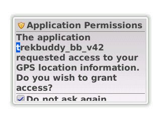 If you have not granted trusted application status to TrekBuddy, it will ask you to grant application permissions to access the GPS location information.  I selected yes and clicked the Do not ask again option in order not to be pestered further.