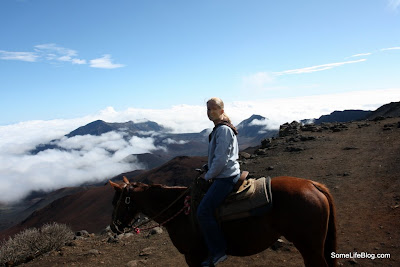 Sunrise and Tours at Haleakala Volcano Crater: Ashley on her horse Mele or Merry in Hawaiian.