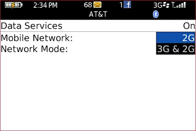 Force EDGE Network on ATT Over 3G for Blackberry: Click on the 3G 2G settings and scroll up and select the 2G setting.