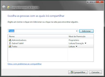 Painel do Windows 7 para compartilhar