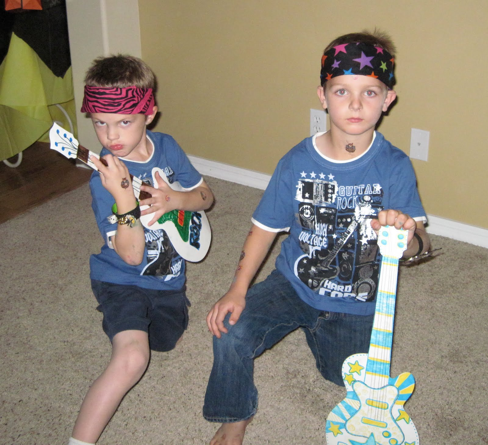 dd0d465e9 They were all given a rock n roll camp t-shirt to wear to the dance. A  selection of bandanas, tattoos, their guitars, and their rock star  wristbands turned ...