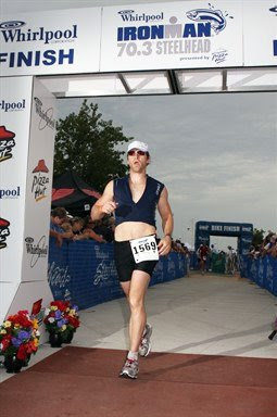 Aaron Fanetti finishing the 2009 Ironman 70.3 Steelhead