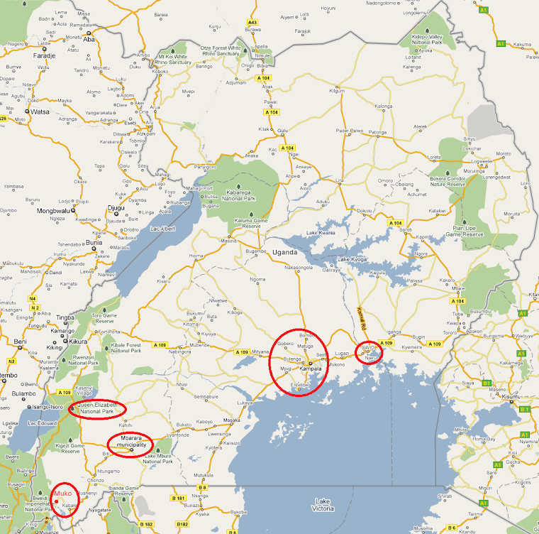 Our destinations in Uganda