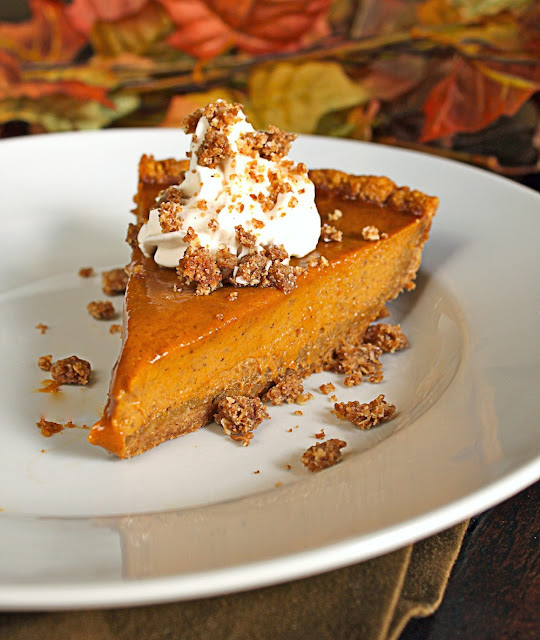 Pumpkin Pie with Cinnamon Crunch and Bourbon-Maple Whipped Cream in ...