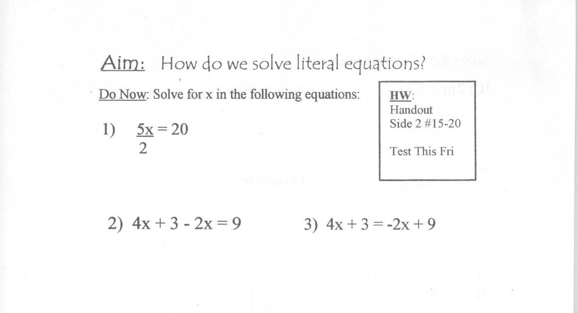 Literal equations homework help