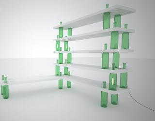 ideias-decoração-mobiliário | Estante garrafas de vidro