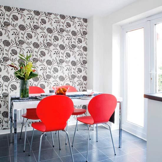 Decora o de salas modernas ideias decora o mobili rio for Wallpaper for dining room feature wall