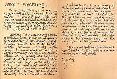 Melissa Avrin - Judy Avrin's note