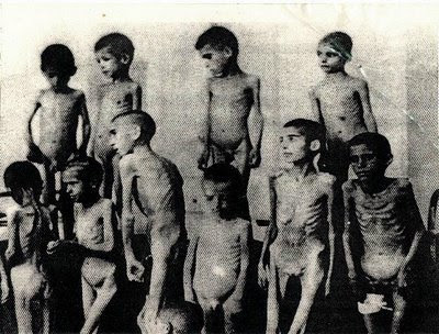 Starving Romanian children in Auschwitz