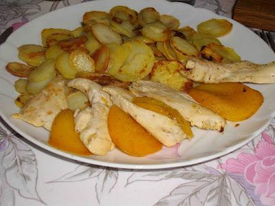 Mal ne aux fourneaux filet de poulet aux p ches 3fp 3pp - Cuisiner aiguillette de poulet ...