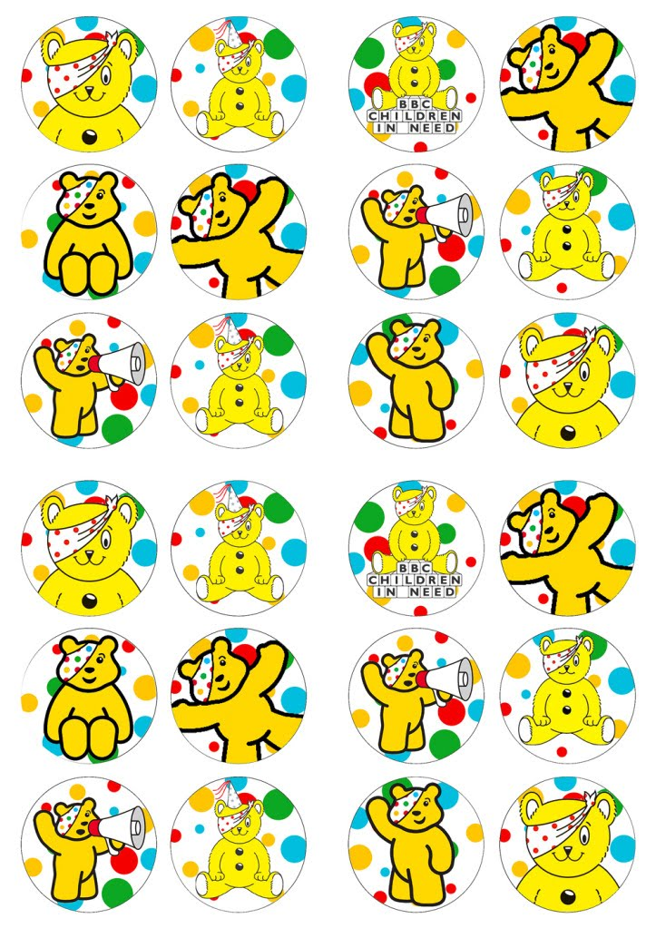 Pudsey Bear Cake Toppers