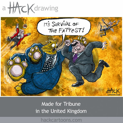 Fat cat cartoon, Gordon Brown and the fat cats of the financial world © Matt Buck Hack Cartoons