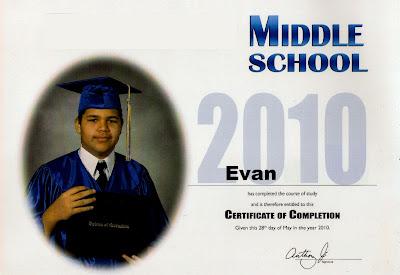 Evan's 8th Grade Diploma
