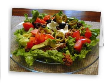 I've been searching through taco salad recipes to find one that might be more on the healthy (healthful) end of the scale. Found it!