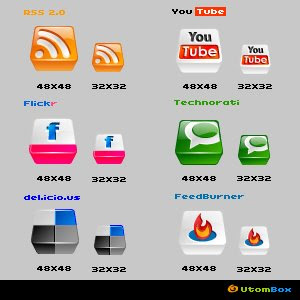 Web 2.0 3D Social Bookmarking Icons