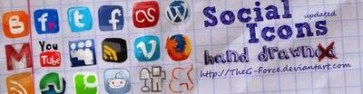 Social bookmarking icon hand drawn
