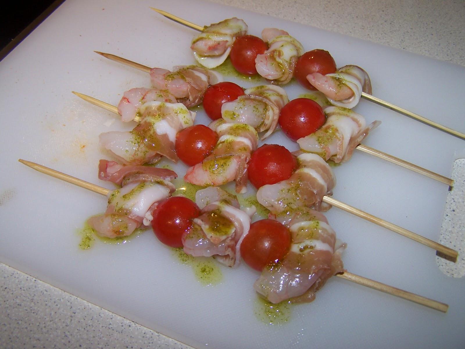 Mis cocinicas brochetas de gambas y bacon - Brocheta de langostinos y bacon ...