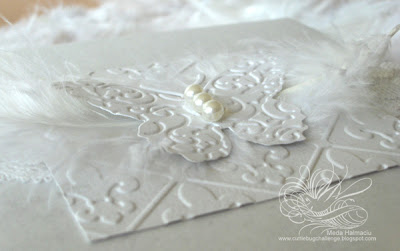 white butterfy invitation detail