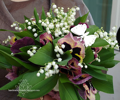 pansy wedding bouquet with butterfly
