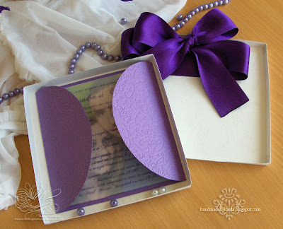 Imagine 275 Wedding Invitations in Boxes Tied with Purple Satin Ribbon