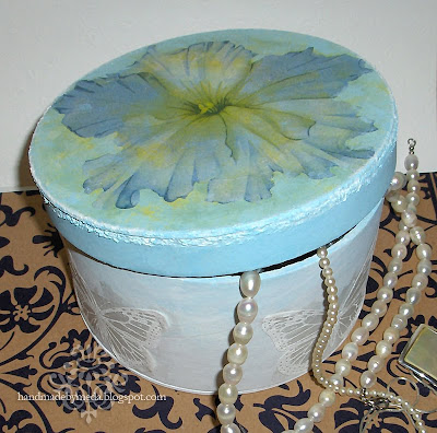 blue decoupage trinket box