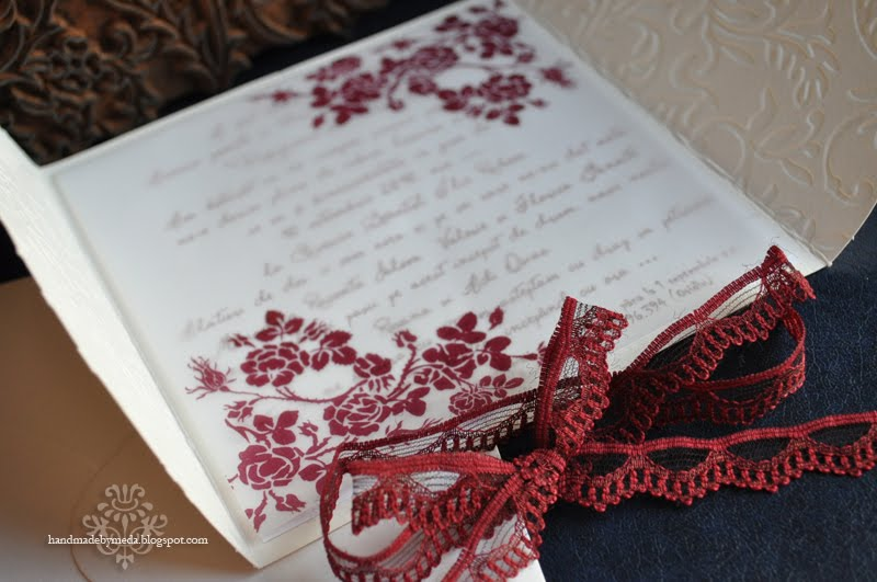 Winter rose invitatiom handmade by meda this design was inspired by roxanas request for a white and burgundy invitation for her august wedding i then tried several combinations and this was my stopboris Choice Image