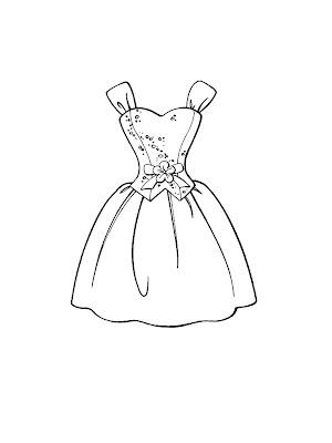 desenhos de vestidos para Colorir - Imagens de roupas para Imprimir