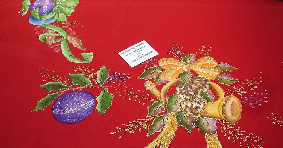 Pintura en tela manteles navide os - Pintura en tela motivos navidenos ...