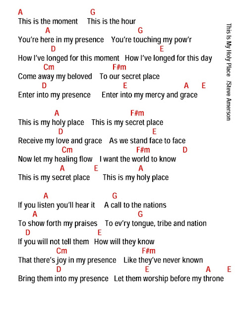This Is My Holy Place Lyrics And Chords Faith And Music