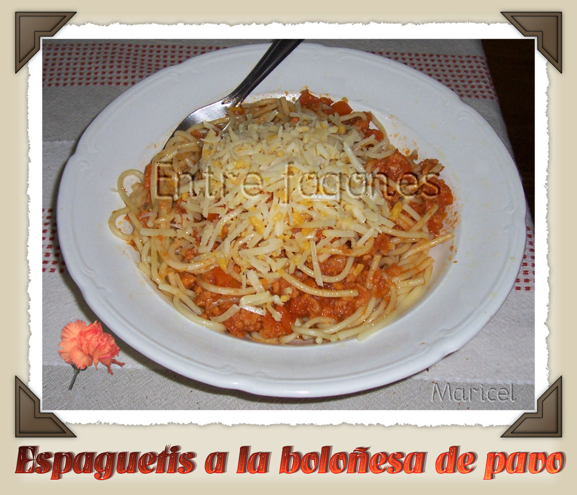 Entre fogones espaguetis a la bolo esa de pavo for Espaguetis para dos