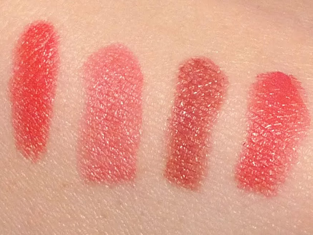 NYX Round Lipstick swatches Fire, Louisiana, Doll, Spell Bound