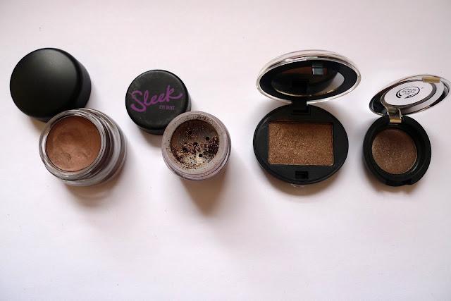 MAC Paint Pot Constructivist, Sleek Eye Dust Dirty, Urban Decay Underground, The Body Shop Chocolate
