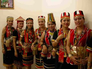 The Bidayuh ladies in their traditional costume.