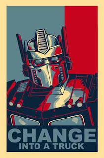 Optimus Prime poster: Change ... into a truck