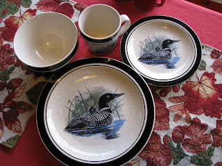 I just googled Scott Zimmerman Dinnerware and it looks like Cabelau0027s also has Whitetail Moose and Elk patterns available. & Vintage Log Cabin: Cabin Loon Dinnerware