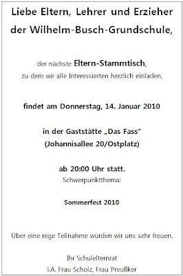 ER: Einladung zum Elternstammtisch Januar 2010