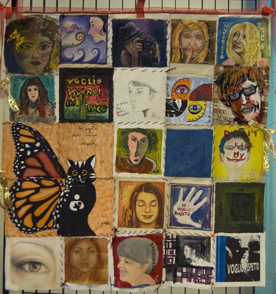 Tela n°3 (ogni tela composta da 25 teline 20x20 tecniche miste 25 Artiste diverse per ogni pannello