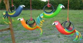 Artesania reciclada: Loros con gomas de autos