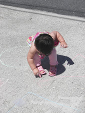 Becky drawing with chalk