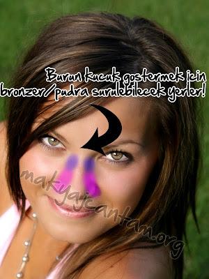 burun küçültme yöntemleri makyajla burnu küçük gösterme kozmetik