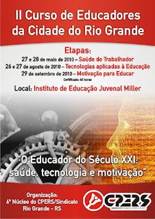 Folder do evento com a imagem de Chaplin sobre uma engrenagem e com o texto:O Educador do Século XXI: Saúde,tecnologia e motivação