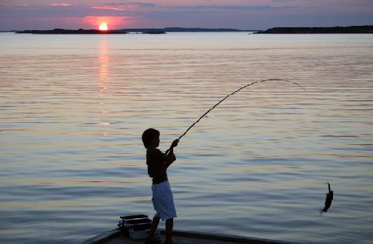 Video che pesca durante primavera su una pertica