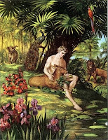 Adam at peace with nature and animals in the garden of Eden
