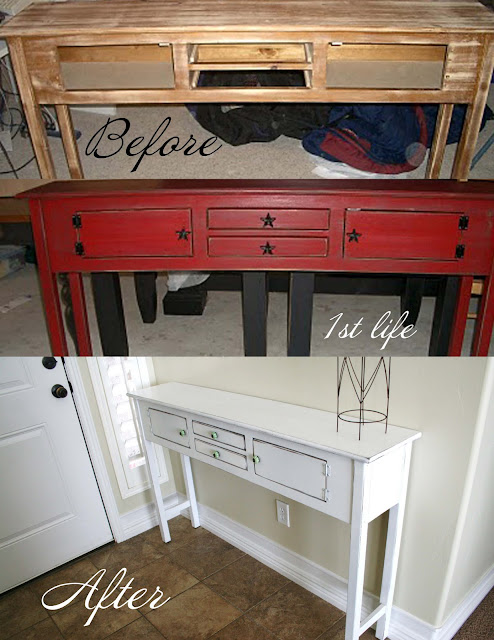 Entryway table revamp painting furniture How to spray paint wood furniture