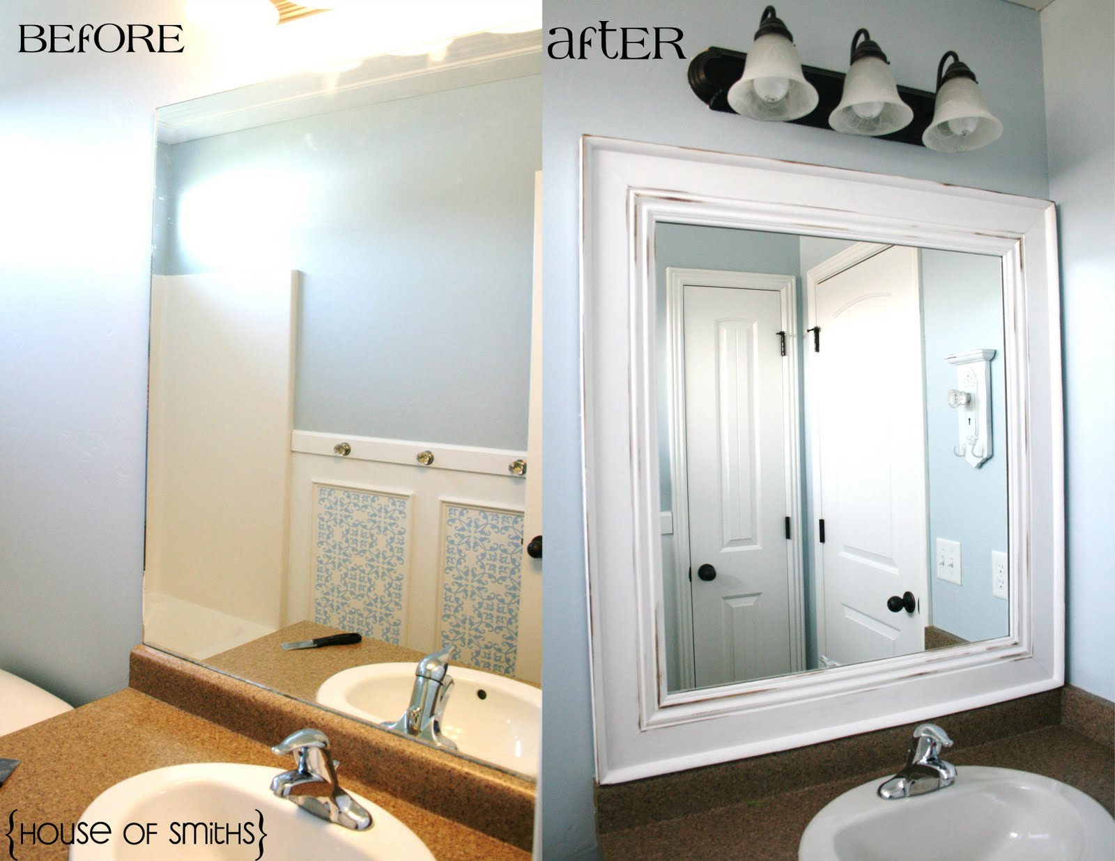 Diy framed mirror tutorial for How to frame mirror in bathroom