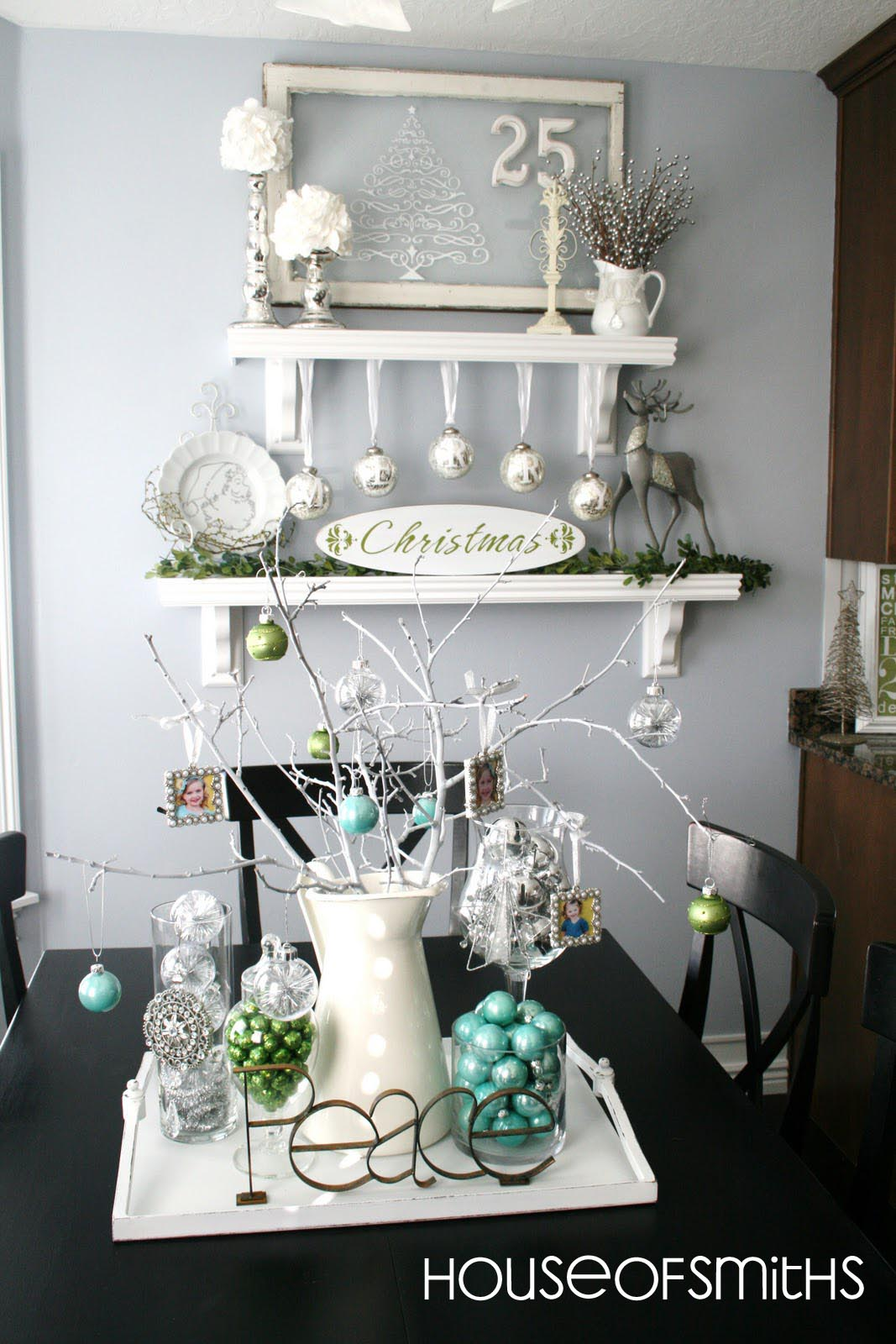 Blue green white and silver christmas decorating ideas for White xmas decorations