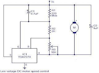Low voltage dc motor speed control circuit using tda7274 for Low voltage motor control